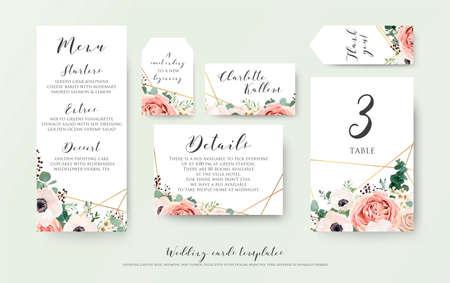 Menú de boda, información, etiqueta, número de mesa y diseño de tarjeta de lugar con elegante rosa de jardín rosa lavanda, anémona, flores de cera, ramas de eucalipto, hojas y lindo patrón dorado. Conjunto de plantillas de vectores