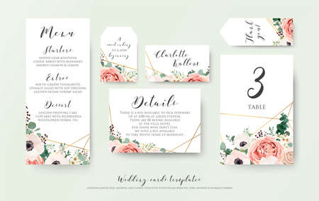 Wedding menu, information, label, table number and place card design with elegant lavender pink garden rose, anemone, wax flowers eucalyptus branches, leaves & cute golden pattern. Vector template set Vettoriali