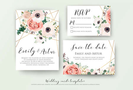 Invito a nozze, invito, rsvp, salva il design della data card con elegante anemone rosa giardino di lavanda rosa, foglie di rami di eucalipto fiori di cera, simpatico motivo geometrico dorato. Insieme di modelli di vettore Vettoriali