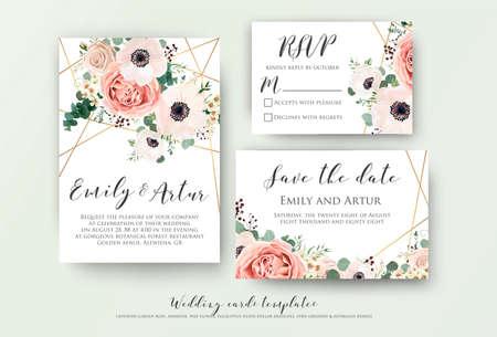 Zaproszenie na ślub, zaproszenie, rsvp, zapisz projekt karty z datą z eleganckim lawendowym różowym ogrodowym anemonem, woskowane kwiaty gałęzi eukaliptusa, liście, ładny złoty wzór geometryczny. Wektor zestaw szablonów Ilustracje wektorowe