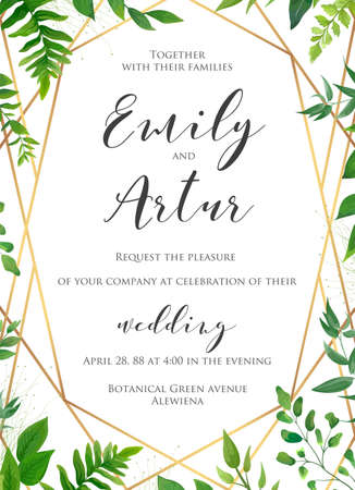 Natural botanical wedding invitation, invite, save the date template. Vector floral design card. Green fern forest plant leaves & herbs greenery mix.  Geometrical golden frame, border with copy space.