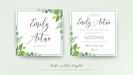 Wedding floral watercolor style double invitation, invitation, save the date card design with forest greenery, herbs, leaves, eucalyptus branches, white lilac flowers. Vector, botanical, elegant template