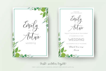 Wedding floral watercolor style double invite, save the date card design. Forest greenery herbs, leaves, eucalyptus branches, white tiny lilac flowers. Vector, organic, botanical, elegant art template. Illustration