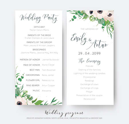 Wedding ceremony and party program card elegant design with watercolor style light pink mauve anemone flowers, eucalyptus green leaves, white lilac flowers, greenery decoration. Romantic templates set Illustration