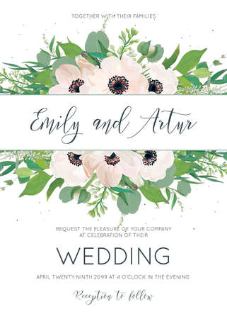 Vector elegant floral wedding princess with a flower pattern, pink anemones, eucalyptus leaves, white lilac flowers, greenery border and tiny gray dots. Cute invitation template