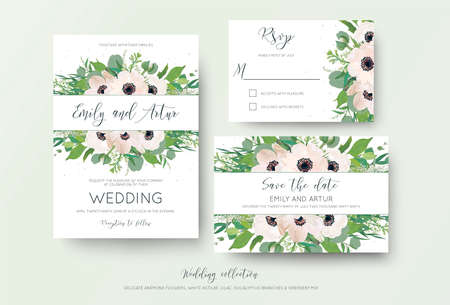 Wedding invite, invitation, save the date, rsvp thank you card design. Green watercolor style light pink anemone flowers, eucalyptus leaves, white lilac flowers, greenery decoration. Romantic cute set Illustration