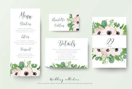 Wedding menu, details, information, escort place card, table number design with watercolor style light pink anemone flowers, eucalyptus leaves, white lilac flowers, greenery decoration. Romantic set Illustration