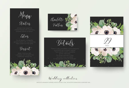 Wedding menu, details information, escort place card table number design with watercolor light pink anemone flowers, eucalyptus leaves, white lilac flowers, greenery decoration on dark grey background