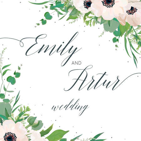 Vector floral wedding invite, invitation, save the date card design with watercolor mauve pink anemones, eucalyptus leaves, cute white lilac flowers, greenery plants & leaves. Elegant woodsy template