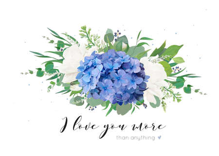 Vector floral card with tender bouquet of blue hydrangea flower, white garden roses, poppies, eucalyptus, lilac flowers, greenery plants, leaves and berries. Elegant, delicate editable template