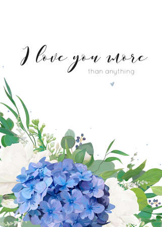 Vector floral greeting card design with elegant bouquet of blue hydrangea flower white garden roses, eucalyptus green branches, lilac flowers greenery herbs, leaves and berries. Modern delicate layout