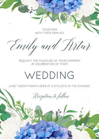 Wedding floral invite, invitation, card design with elegant bouquet of blue hydrangea flowers, white garden roses, green eucalyptus, lilac branches, greenery herbs, leaves, berries. Modern cute layout