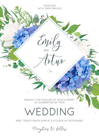 Elegant wedding invitation with watercolor art style floral designs.