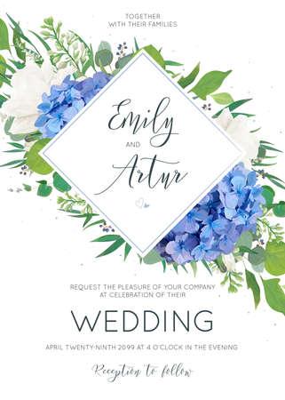 Invito a nozze elegante con disegni floreali in stile arte dell'acquerello.