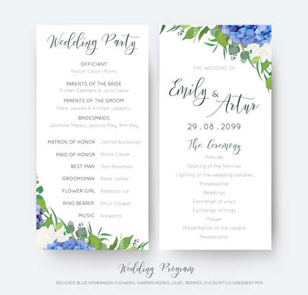 Wedding floral wedding party and ceremony program card with floral designs. Vettoriali