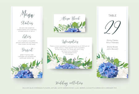 Set of wedding information with floral designs. Stock Illustratie