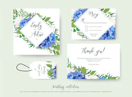 Set of wedding  information with floral designs.