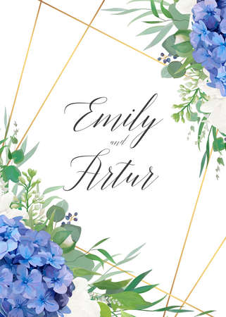 Wedding floral invite, save the date card design with elegant blue violet hydrangea flowers, white garden roses, eucalyptus green branches, greenery leaves & golden frame decoration. Luxury template 免版税图像 - 151790697