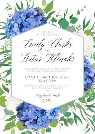 Wedding floral invite, save the date card design with elegant blue violet hydrangea flowers, white garden roses,  eucalyptus green branches, greenery leaves, geometrical frame. Delicate cute template