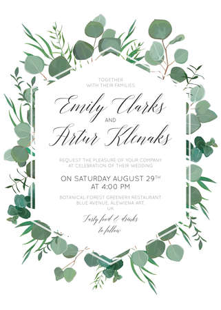 Wedding floral invite, invitation, save the date card design with elegant eucalyptus greenery branches, green forest leaves foliage, herbs & cute polygonal geometrical frame. Beautiful trendy template