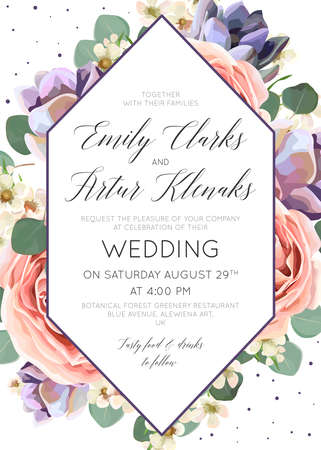 Wedding floral invitation with lavender and pink rose flowers and leaves