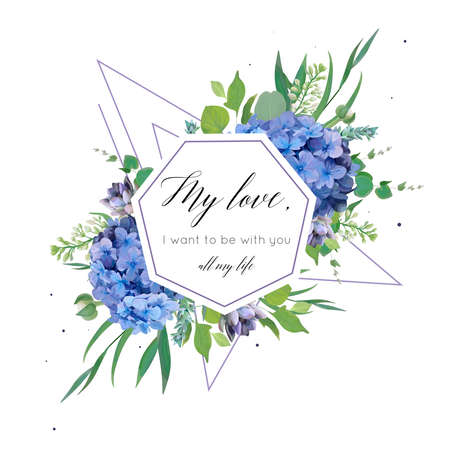 Vector floral pattern with elegant bouquet of blue hydrangea flowers, violet succulents, green eucalyptus, lilac, greenery leaves berries, geometrical decoration. Wedding invite, cute greeting