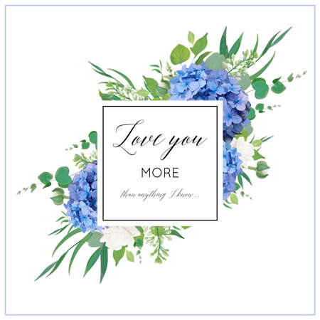 Vector floral card with elegant bouquet of blue hydrangea flowers, white garden roses, green eucalyptus, lilac branches, greenery leaves berries & square copy space. Wedding invite, greeting Illustration