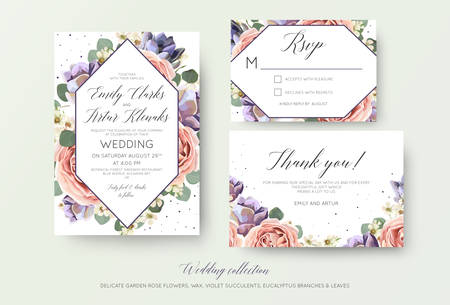 Wedding floral invitation, rsvp, thank you card elegant botanical design with lavender pink rose flowers.