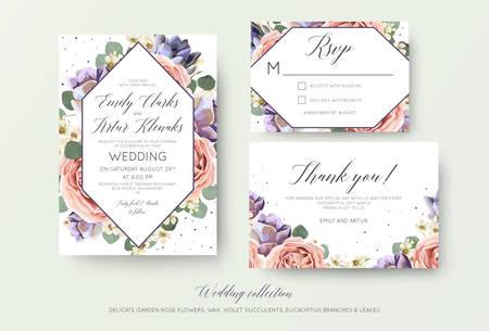 Invitación floral de boda, rsvp, tarjeta de agradecimiento elegante diseño botánico con flores de rosa rosa lavanda.