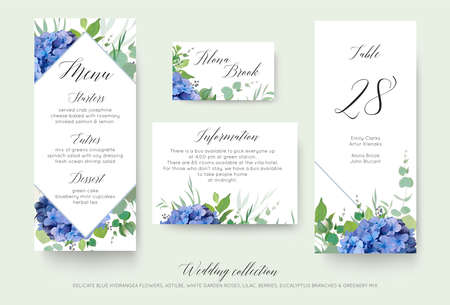 Wedding floral personal menu, place, information, table number card design set with elegant blue hydrangea flowers, white garden roses, green eucalyptus, lilac branches, greenery leaves & cute berries Vectores