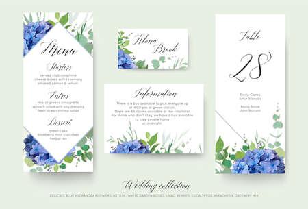 Menu personnel floral de mariage, lieu, informations, conception de carte de numéro de table sertie d'élégantes fleurs d'hortensia bleu, roses de jardin blanches, eucalyptus vert, branches lilas, feuilles de verdure et baies mignonnes