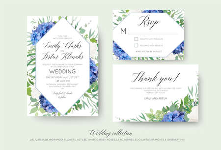 Wedding floral invite, rsvp, thank you cards design with elegant blue hydrangea flowers, white garden roses, lilac, green eucalyptus branches, greenery leaves & geometrical frame. Luxury beautiful set