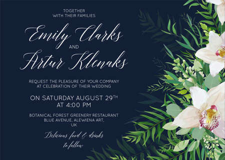 Wedding invite, save the date card delicate design with white orchid flowers, greenery eucalyptus, tropical forest palm green leaves decoration. Elegant, beauty vector template on dark blue background.