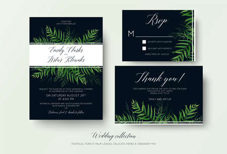 Wedding invitation, rsvp, thank you cards floral design with green tropical forest palm leaves, eucalyptus branches  cute greenery herbal mix decoration on dark blue. Beautiful botanical template set