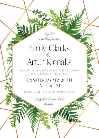Wedding invite, save the date card design with natural forest greenery leaves, ferns, tropical palm leaves, berries & golden foil stripes, geometrical decoration. Elegant, woodsy style vector template Stock Illustratie