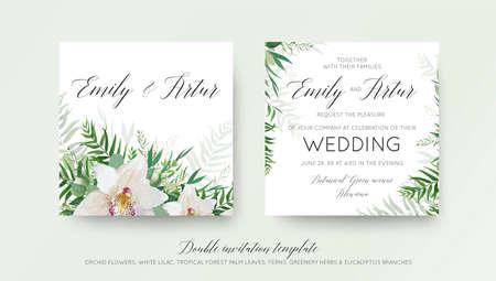 エレガントな白い蘭の花、緑の柳のユーカリの枝、熱帯林ヤシの緑の葉の装飾と結婚式の二重招待状カードのデザイン。美しい、トレンディなベク  イラスト・ベクター素材