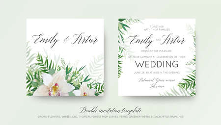 Wedding double invitation card design with elegant white orchid flower, greenery willow eucalyptus branches, tropical forest palm green leaves decoration. Beautiful, trendy vector template set.