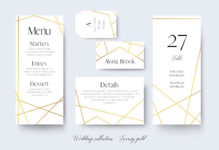 Wedding menu, label, details, place, table number cards delicate design with golden foil graphic stripes  geometrical frame. Vintage art geometrical decor. Elegant, trendy, luxury vector collection