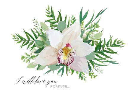 Vector floral greeting card design with elegant bouquet of white pink tropical orchid flower, lilac, eucalyptus green branches, greenery herbs, palm leaves. Ilustracja