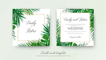Wedding floral double invite card design with vector watercolor Luxury botanical rustic natural template Çizim