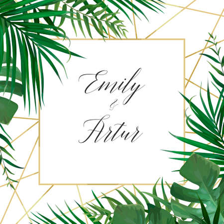 Wedding vector art floral invite invitation card design with watercolor style tropical forest palm tree green leaves.