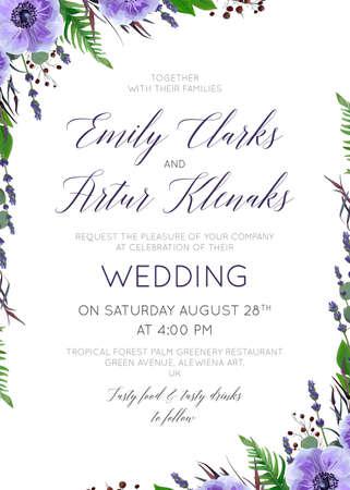 Wedding floral invitation template.