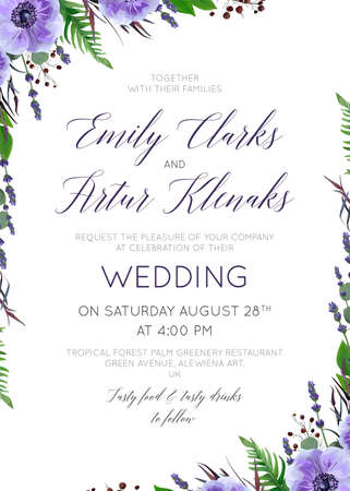Wedding floral invitation template.