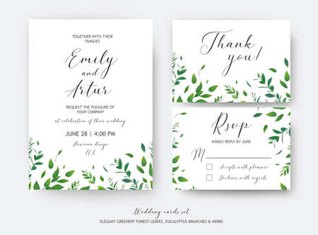 Wedding invite, invitation, RSVP, thank you cards vector art design.  Watercolor style green leaves, eucalyptus tree branches, forest herbs, plants. Elegant, greenery, rustic, natural minimalist suite