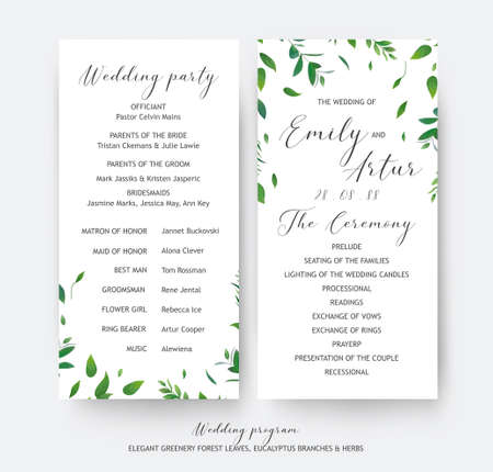 Wedding floral greenery ceremony and party program cards vector design. Botanical, rustic watercolor style hand drawn green leaves, eucalyptus tree branches, forest herbs.