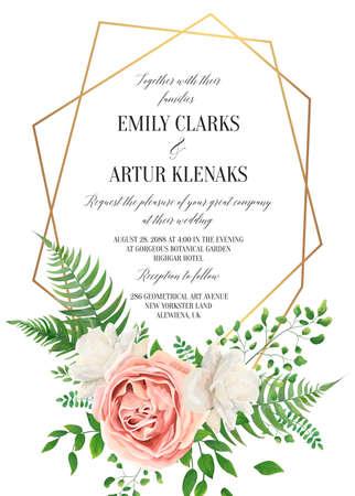Invitación floral de boda, diseño de tarjeta de invitación. Acuarela estilo blush rosa rosa, flores de peonía de jardín blanco, hojas verdes, helecho verde y borde geométrico dorado Plantilla elegante y con clase de arte vectorial