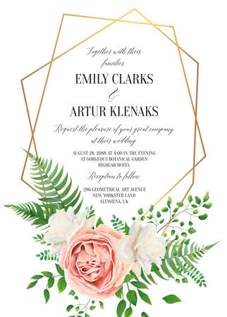 Wedding floral invite, invtation card design. Watercolor style blush pink rose, white garden peony flowers, green leaves, greenery fern & golden geometrical border. Vector art elegant, classy template Illustration