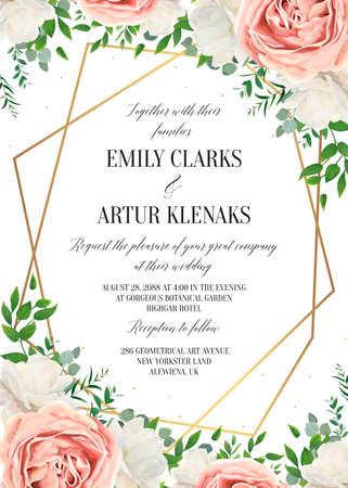 Invitación floral de boda, diseño de tarjeta de invitación. Acuarela blush rosa rosa, flores de peonía de jardín blanco en flor, hojas verdes, plantas verdes y marco geométrico dorado. Vector plantilla romántica y moderna