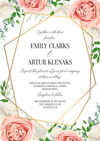 Wedding floral invite, invtation card design. Watercolor blush pink rose, white garden peony flowers, green leaves, greenery fern & golden geometrical transparent frame. Vector, elegant, classy layout