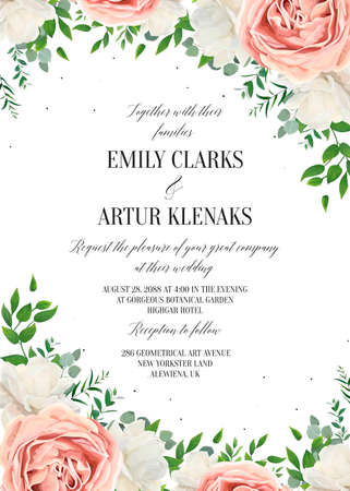Wedding floral invite, invtation, save the date card design. Watercolor blush pink rose flowers, white garden peonies, green leaves, greenery plants, tender polka dot pattern. Vector romantic template 일러스트